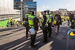 Solna 2014-03-31 Fotboll Allsvenskan AIK - IFK G&ouml;teborg :  <br /> Poliser vid trappan upp till Friends Arena<br /> (Foto: Kenta J&ouml;nsson) Nyckelord:  AIK Gnaget Solna IFK G&ouml;teborg Bl&aring;vitt polis poliser