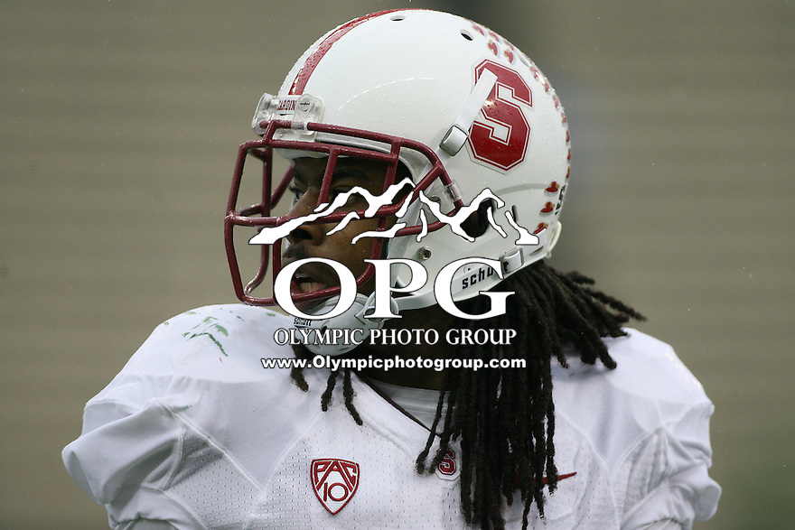 Oct 30, 20010:  Stanford's #9 Richard Sherman warms up before the game against Washington.  Stanford defeated Washington 41-0 at Husky Stadium in Seattle, Washington.