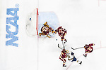 ST PAUL, MN - APRIL 7: University of Minnesota-Duluth players cut off a shot attempt by Cam Morrison #26 of the Notre Dame Fighting Irish during the Division I Men's Ice Hockey Championship held at the Xcel Energy Center on April 7, 2018 in St Paul, Minnesota. (Photo by Tim Nwachukwu/NCAA Photos via Getty Images)