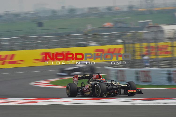 25.-27-10-2013, Jaypee-Circuit, Noida, IND, F1, Grosser Preis von Indien, Noida, im Bild  DHL Branding - Kimi Raikkonen (FIN), Lotus Renault F1 Team <br />  Foto &copy; nph / Mathis