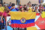 Colombian fans at the finish line at the end of Stage 4 of La Vuelta 2019 running 175.5km from Cullera to El Puig, Spain. 27th August 2019.<br /> Picture: Eoin Clarke | Cyclefile<br /> <br /> All photos usage must carry mandatory copyright credit (© Cyclefile | Eoin Clarke)