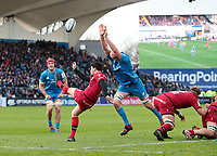 12th January 2020; RDS Arena, Dublin, Leinster, Ireland; Heineken Champions Champions Cup Rugby, Leinster versus Lyon Olympique Universitaire; Devin Toner (Leinster) attempts to block down the box kick from Sam Hidalgo-Clyne (Lyon)  - Editorial Use