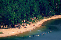 Aerial view of beach at Echo Lake State Park. North Conway, New Hampshire.