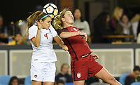 San Jose, CA - Sunday November 12, 2017: Shelina Zadorsky, Lindsey Horan during an International friendly match between the Women's National teams of the United States (USA) and Canada (CAN) at Avaya Stadium.