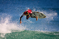 Asher Pacey (AUS).Cottesloe Beach, Perth, Western Australia, Saturday August 18 2001..A round of  The Quiksilver Airshow International Series, with $20,000 in prize-money was run today at Cottesloe Beach. The Quiksilver Airshow is the richest and most spectacular surfing event to be staged at a Perth Beach. The contest is based around the futuristic moves of aerial surfing, where each surfer  is judged on their best two aerial manoeuvres in each heat. (Photo: joliphotos.com)
