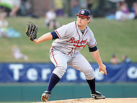 LHP Chris Masters (32) of the Rome Braves, Class A affiliate of the Atlanta Braves, in a game against the Greenville Drive April 13, 2010, at Fluor Field at the West End in Greenville, S.C. Photo by: Tom Priddy/Four Seam Images