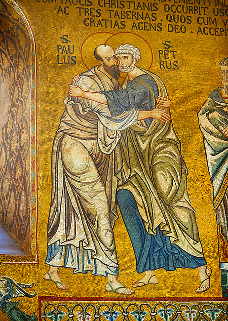 Medieval Byzantine style mosaics of St Peter meeting St Paul, the Palatine Chapel, Cappella Palatina, Palermo, Italy