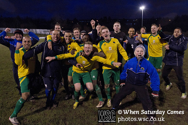 Gornal Athletic 4 Wisbech Town 2, 02/02/2013. Garden Walk Stadium, FA Vase 4th round. Home manager Ian Rowe (third left) and his players celebrating at the end of the game at Garden Walk Stadium, after the FA Vase 4th round tie between Gornal Athletic (in yellow) from Dudley in the West Midlands and visitors Wisbech Town. Gornal, from the Midland Alliance and appearing for the first time at this stage of the tournament, defeated Wisbech, who play in the Eastern Counties League, by 4-2 after extra-time, after the visitors had lead two-nil after 10 minutes. The FA Vase was a nationwide, non-League English football tournament for semi-professional clubs and the winner of this tie played away at Bodmin Town in the next round. Photo by Colin McPherson.