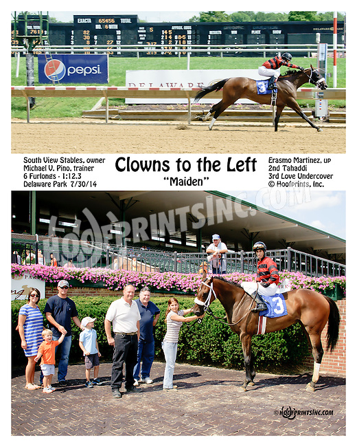 Clowns to Left winning at Delaware Park on 7/30/14