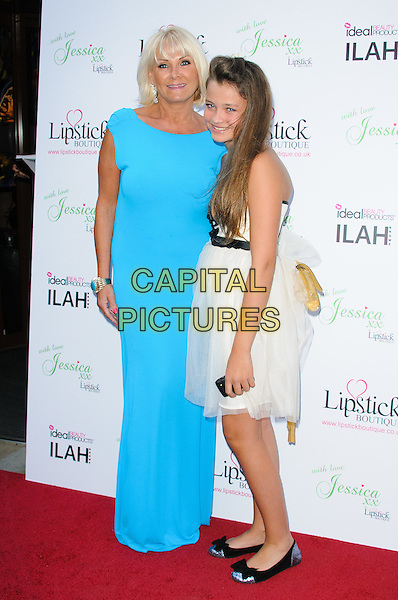 Carol Wright & guest.Launch celebration of the new clothing line 'Lipstick Boutique' by Jessica Wright, at Soho Sanctum Hotel - Arrivals..London, England..August 21st, 2012.full length blue turquoise dress white tulle .CAP/CJ.©Chris Joseph/Capital Pictures.