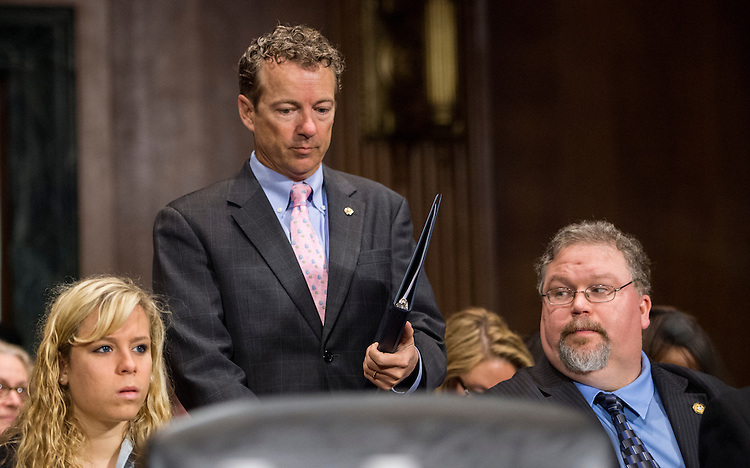 "UNITED STATES - APRIL 15: Sen. Rand Paul, R-Ky., arrives to testify during the Senate Judiciary Committee hearing on ""The Need to Reform Asset Forfeiture"" on Wednesday, April 15, 2015. (Photo By Bill Clark/CQ Roll Call)"