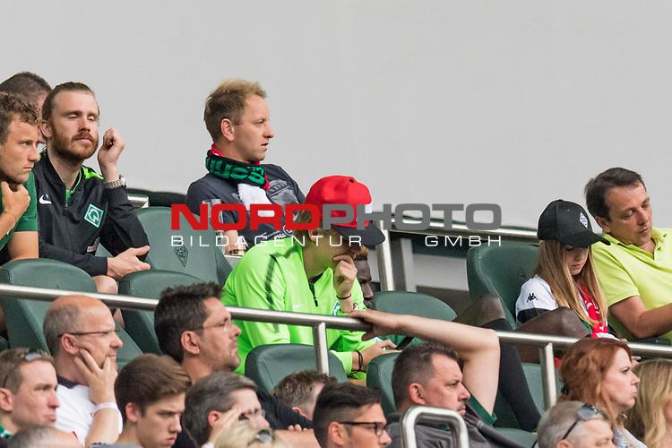 15.07.2017, Borussia Park, Moenchengladbach, GER, TELEKOM CUP 2017 Finale - SV Werder Bremen vs FC Bayern Muenchen<br /> <br /> im Bild<br /> Aron J&oacute;hannsson / Johannsson (Werder Bremen #9) verfolgte das Spiel von der Trib&uuml;ne vertieft in sein Handy, <br /> <br /> Foto &copy; nordphoto / Ewert