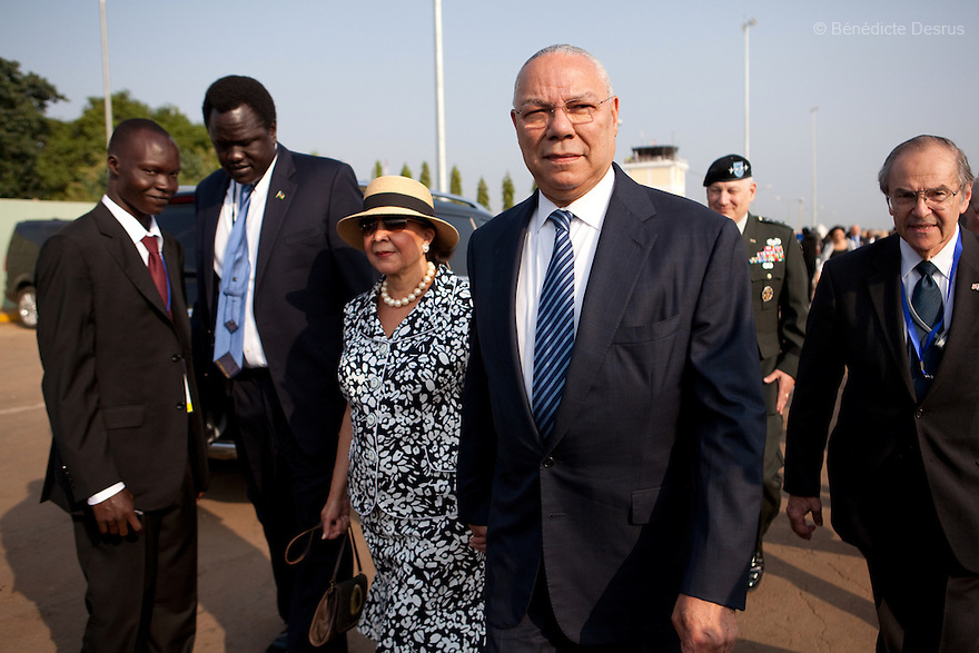 Saturday 9 july 2011 - Juba, Republic of South Sudan - Colin Powell arrives at Juba airport for the Independence Day celebrations in South Sudan's capital Juba. Photo credit: Benedicte Desrus