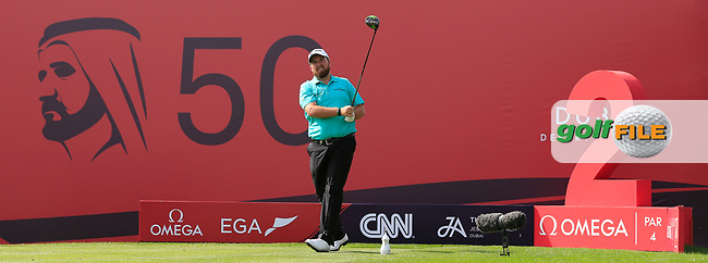 Shane Lowry (IRL) on the 2nd tee during Round 3 of the Omega Dubai Desert Classic, Emirates Golf Club, Dubai,  United Arab Emirates. 26/01/2019<br /> Picture: Golffile | Thos Caffrey<br /> <br /> <br /> All photo usage must carry mandatory copyright credit (&copy; Golffile | Thos Caffrey)