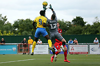 Sam Sargeant of Leyton Orient saves off the head of Christian Adu-Gyamfi of Harlow Town during Harlow Town vs Leyton Orient, Friendly Match Football at The Harlow Arena on 6th July 2019