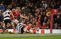 Wales Gareth Davies scores his sides sixth try<br /> <br /> Photographer Ian Cook/CameraSport<br /> <br /> 2019 Autumn Internationals - Wales v Barbarians - Saturday 30th November 2019 - Principality Stadium - Cardifff<br /> <br /> World Copyright © 2019 CameraSport. All rights reserved. 43 Linden Ave. Countesthorpe. Leicester. England. LE8 5PG - Tel: +44 (0) 116 277 4147 - admin@camerasport.com - www.camerasport.com