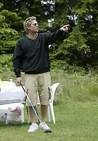 June 23, 2008:  Hollywood comedian Kato Kaelin tries to break the ice with a joke before attempting to drive the ball off hole #5 while playing in the Detlef Schrempf celebrity golf classic held at McCormick Woods golf club in Port Orchard, WA.