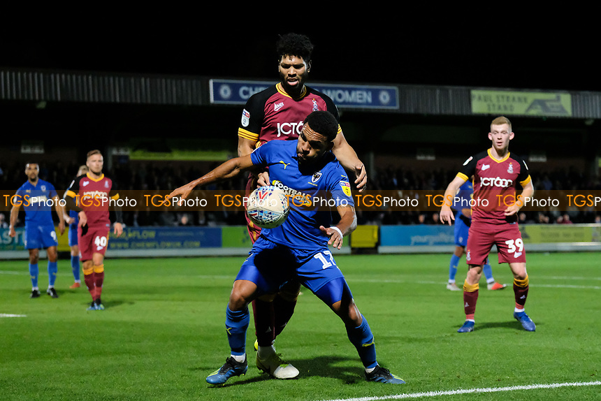 Andy Barcham of AFC Wimbledon shields the ball from Nathaniel Knight-Percival of Bradford City during AFC Wimbledon vs Bradford City, Sky Bet EFL League 1 Football at the Cherry Red Records Stadium on 2nd October 2018