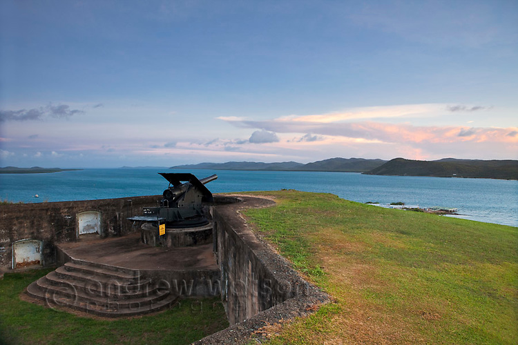 Gun battery overlooking the Torres Stait islands at Green Hill Fort.  Thursday Island, Torres Strait Islands, Queensland, Australia
