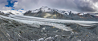 Panorama landscape of the Gulkana Glacier in the Alaska Range mountains, Interior, Alaska.