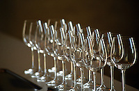Wine glasses. Chateau Sansonnet, Saint Emilion, Bordeaux, France