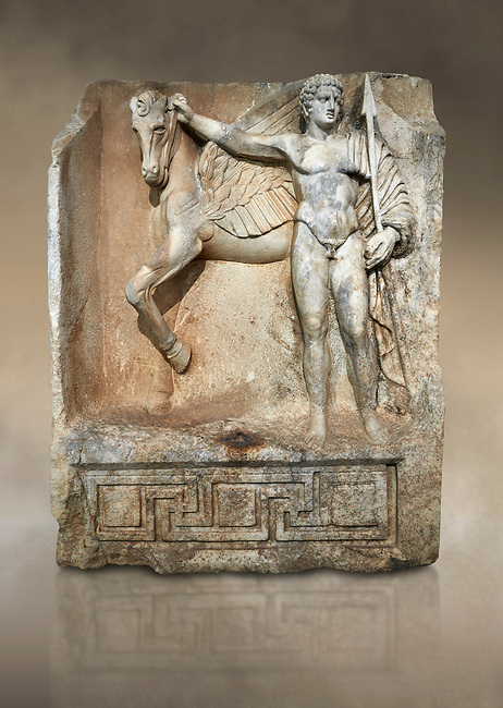 "Roman Sebasteion relief  sculpture of  Bellerophon Aphrodisias Museum, Aphrodisias, Turkey. Against an art background.<br /> <br /> Bellerophon was a Lykian hero and was claimed as a founder of Aphrodisias. He holds his winged horse Pegasos. The deign was modelled on another relief panel in the series ""Royal hero with Dod Hunting"". The carving is poor and the sculptor may have been a novice.modelled"