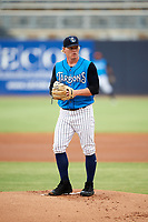 Tampa Tarpons starting pitcher Nick Nelson (27) gets ready to deliver a pitch during the first game of a doubleheader against the Lakeland Flying Tigers on May 31, 2018 at George M. Steinbrenner Field in Tampa, Florida.  Tampa defeated Lakeland 3-0.  (Mike Janes/Four Seam Images)
