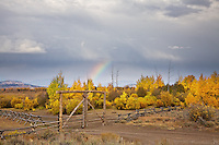 Autumn thunderstorm an rainbow in Jackson Hole Wyoming