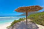 Virgin Gorda, British Virgin Islands, Caribbean <br /> Palapa on the beach at Savannah Bay