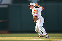 Texas Longhorns shortstop Jordan Etier #7 on defense during the NCAA baseball game against the Central Arkansas Bears on April 24, 2012 at the UFCU Disch-Falk Field in Austin, Texas. The Longhorns beat the Bears 4-2. (Andrew Woolley / Four Seam Images).