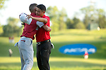 SUGAR GROVE, IL - MAY 29: John Oda of UNLV and Max McGreevy of the University of Oklahoma congratulate each other during the Division I Men's Golf Individual Championship held at Rich Harvest Farms on May 29, 2017 in Sugar Grove, Illinois. (Photo by Jamie Schwaberow/NCAA Photos via Getty Images)