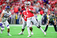Indianapolis, IN - DEC 1, 2018: Ohio State Buckeyes quarterback Dwayne Haskins (7) throws the football during second half action of the Big Ten Championship game between Northwestern and Ohio State at Lucas Oil Stadium in Indianapolis, IN. Ohio State defeated Northwestern 45-24. (Photo by Phillip Peters/Media Images International)