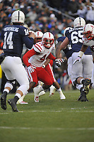 23 November 2013:  Nebraska DE Randy Gregory (44) reads the play and watches the Penn State QB. The Nebraska Cornhuskers defeated the Penn State Nittany Lions 23-20 in overtime at Beaver Stadium in State College, PA.