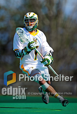 3 April 2010: University of Vermont Catamounts' Attacker Geoff Worley, a Sophomore from Coronado, CA, in action against the Binghamton University Bearcats at Moulton Winder Field in Burlington, Vermont. The Catamounts defeated the visiting Bearcats 11-8 in Vermont's opening home game of the 2010 season. Mandatory Credit: Ed Wolfstein Photo