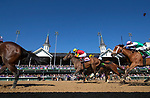 November 3, 2018: Shamrock Rose #14, ridden by Irad Ortiz, Jr., pulls forward to win the Breeders' Cup Filly & Mare Sprint on Breeders' Cup World Championship Saturday at Churchill Downs on November 3, 2018 in Louisville, Kentucky. Alex Evers/Eclipse Sportswire/CSM