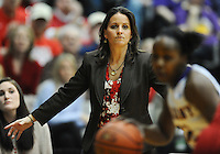 Coach Rizzotti coaches her defense in the second half.  Albany claimed the America East Championship for the forth year in a row with a 84-75 win over the Hawks.  Steve McLaughlin / Special to The Courant