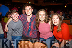 Enjoying the Father Ted Comedy night at the Ring of Kerry Hotel, Cahersiveen on Saturday were l-r; Conor Keating, Azime Barham, Aisling Quigley & Áine Baer.