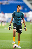 El Salvador goalkeeper Derby Carrillo (22) during warmups prior to a CONCACAF Gold Cup group B match at Red Bull Arena in Harrison, NJ, on July 8, 2013.