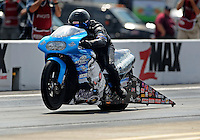 Sept. 17, 2010; Concord, NC, USA; NHRA pro stock motorcycle rider Craig Treble during qualifying for the O'Reilly Auto Parts NHRA Nationals at zMax Dragway. Mandatory Credit: Mark J. Rebilas/