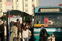 Boarding a bus in Taksim, Istanbul, Turkey