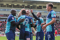Myles Weston celebrates scoring his goal with Garry Thompson of Wycombe Wanderers & teammates after making it 2 0 during the Sky Bet League 2 match between Leyton Orient and Wycombe Wanderers at the Matchroom Stadium, London, England on 1 April 2017. Photo by Andy Rowland.