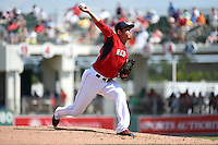 Boston Red Sox  pitcher Junichi Tazawa (36) during a Spring Training game against the New York Mets on March 16, 2015 at JetBlue Park at Fenway South in Fort Myers, Florida.  Boston defeated New York 4-3.  (Mike Janes/Four Seam Images)
