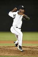 Relief pitcher Aaron Ford (33) of the Columbia Fireflies during a game against the Charleston RiverDogs on Tuesday, August 28, 2018, at Spirit Communications Park in Columbia, South Carolina. Columbia won, 11-2. (Tom Priddy/Four Seam Images)