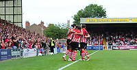 Lincoln City's Matt Green celebrates scoring his sides fourth goal with team-mates<br /> <br /> Photographer Chris Vaughan/CameraSport<br /> <br /> The EFL Sky Bet League Two - Lincoln City v Swindon Town - Saturday 11th August 2018 - Sincil Bank - Lincoln<br /> <br /> World Copyright &copy; 2018 CameraSport. All rights reserved. 43 Linden Ave. Countesthorpe. Leicester. England. LE8 5PG - Tel: +44 (0) 116 277 4147 - admin@camerasport.com - www.camerasport.com