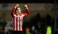 Lincoln City's Harry Toffolo celebrates at the end of the game<br /> <br /> Photographer Chris Vaughan/CameraSport<br /> <br /> Emirates FA Cup First Round - Lincoln City v Northampton Town - Saturday 10th November 2018 - Sincil Bank - Lincoln<br />  <br /> World Copyright © 2018 CameraSport. All rights reserved. 43 Linden Ave. Countesthorpe. Leicester. England. LE8 5PG - Tel: +44 (0) 116 277 4147 - admin@camerasport.com - www.camerasport.com
