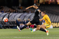 June 7, 2016: CAITLIN FOORD (9) of Australia shoots for goal during an international friendly match between the Australian Matildas and the New Zealand Football Ferns as part of the teams' preparation for the Rio Olympic Games at Etihad Stadium, Melbourne. Photo Sydney Low