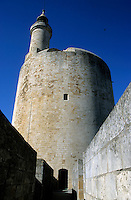 Stone exterior of The Constance Tower, Aigues-Mortes, Provence, France.