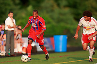 Crystal Palace midfielder Larry Mark (16) is chased by New York Red Bulls defender John Gilkerson (16). Crystal Palace FC USA of Baltimore (USL2) defeated the New York Red Bulls (MLS) 2-0 during a Lamar Hunt US Open Cup third round match at Lawrence E. Knight Stadium in Annapolis, Maryland, on July 01, 2008.