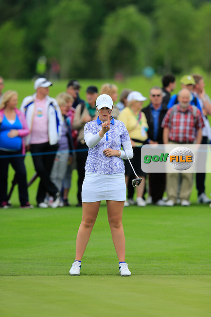 Olivia Mehaffey during Sunday Singles matches at the 2016 Curtis cup from Dun Laoghaire Golf Club, Ballyman Rd, Enniskerry, Co. Wicklow, Ireland. 12/06/2016.<br /> Picture Fran Caffrey / Golffile.ie<br /> <br /> All photo usage must carry mandatory copyright credit (&copy; Golffile | Fran Caffrey)
