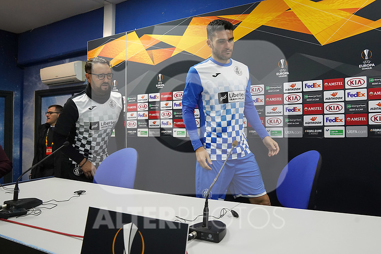 Getafe's coach Jose Bordalas (l) and Jorge Molina in press conference after training session. February 19,2020.(ALTERPHOTOS/Acero)